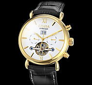 Men's Gold Case Calendar Function PU Analog Mechanical Wrist Watch (Assorted Colors) Cool Watch Unique Watch Fashion Watch