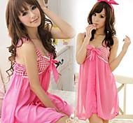 Сладкий Babydoll Розовый шаблон проверки ночное платье