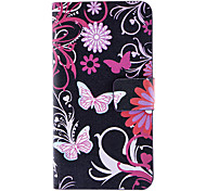 Vlinders en Chrysanthemum Patroon Full Body Case met Card Slot en Ingebouwde Matte PC Back Cover voor iPhone 4/4S