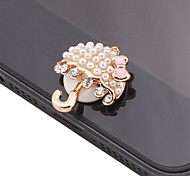 Umbrella Shaped Pearl Alloy Button Sticker