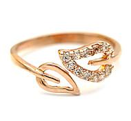 Heart matched zircon rose gold leaf opening adjustable ring (random color)