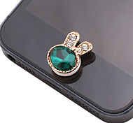 Rabbit Shaped Gem Zircon Alloy Button Sticker