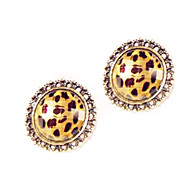 Foreign trade in Europe and America Fan children retro sexy leopard circular hollow stud earrings E48