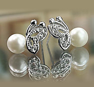Stud Earrings Pearl Simulated Diamond Alloy Birthstones Silver Jewelry Daily