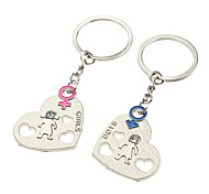 A Pair Heart Shaped Lovers Keychains