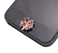 Four Leaf Clover Shaped Colorful Zircon Alloy Button Sticker