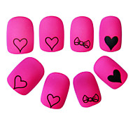 YeManNvYou®24PCS Cartoon Full Cover Nail Tips Pink Loving Heart