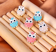 Fresh sweet preppy cute little owl pearl earrings (random color)