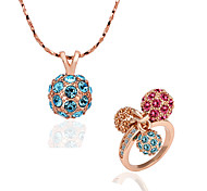 Green Tin Alloy Rose Gold Green Alloy , Crystal - Set Lkn18Krgps173