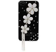 Shining Rhinestones 3D Wild Chrysanthemum Design Transparent PC Hard Case for iPhone 4/4S