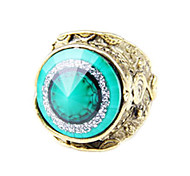 Unique Retro Conical Section Carved Emerald Ring