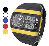 Men's Multi-Function Analog-Digital Square Dial Rubber Band Wrist Watch (Assorted Colors)