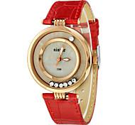 Moveable Diamante Round Dial PU banda quartzo analógico relógio de pulso da Mulher (cores sortidas)