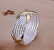 X Design-Silver & Gold Ring