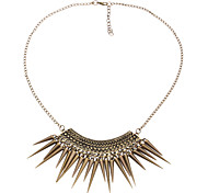Retro Exaggerated Tassel Triangle Studs Hammer-Shaped Necklace