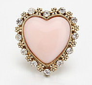 Rhinestone Decorated Heart Shape Ring