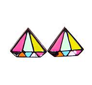 Korean version of the new Korean fashion personality color diamond shape stud earrings E901