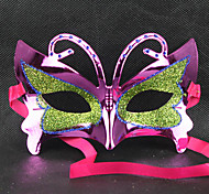 Green&Purple Masquerade Butterfly Retro Halloween Mask with Rhinestone Red Ribbon