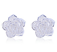 Lureme®925 Sterling Silver Plated Hollow Rose Earrings