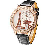 Torre quadrante pu banda quarzo analogico orologio da polso da donna