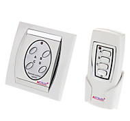 Home 4 Ports Digital Wireless Remote Power Switch (White)