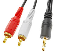 3,5 mm a 2 RCA macho a macho Cable Negro (3M)