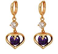 Gold plated bronze zircon  Drop Earrings ER0176 - Heart Shaped