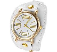 or cadran rond PU boucle bande de style quartz analogique montre-bracelet des femmes (couleurs assorties)