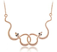 Gold Plated Twisted Snake Pendant Short Necklace