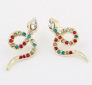 Alloyed Snake Dancing Diamond-Encrusted Stud Earring