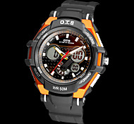 Men's Multi-Function Analog-Digital Round Dial Rubber Band Quartz Wrist Watch (Assorted Colors)