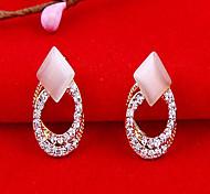 Exquisite Opal Circular ocas brincos de diamantes E376