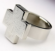 Supercool Negro Cruz Biblia de titanio anillo de acero