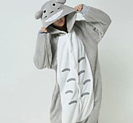 Chubby Totoro Grey Polar Fleece Kigurumi Pajamas Cartoon Sleepwear Animal Halloween Costume