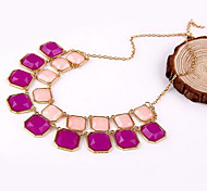 Bohemian Fashion Jewelry Korean Version Of The Candy-Colored Geometric Square Necklace