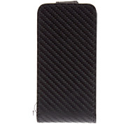 Weaved Mat Pattern Black Flip PU Full Body Case for iPhone 4/4S
