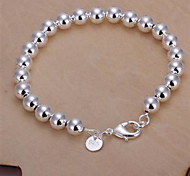 Fashion Brass Silver Plated With 8mm Hollow Beads Women's Bracelet