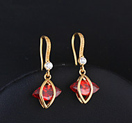 Gold plated bronze zircon Drop Earrings ER0391