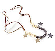 Star Multi-Color Leather Cord Necklace