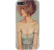 Short Hair Pretty Girl in The Wind Pattern Protective Hard Case for iPhone 5/5S