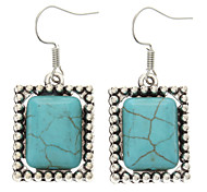 Vintage Rectangular Green Turquoise Drop Earrings