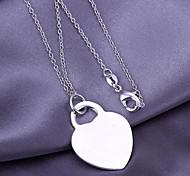 Silver Heart Shape Copper Pendant Necklace
