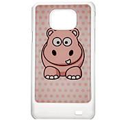 Patrón Funda Hippopotamus trasera dura protectora para Samsung I9100 Galaxy S2
