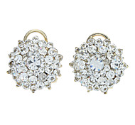 Silver Full-Crystal Round Stud Earrings