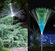 Color Changing Set of 2 Solar Fiber Optic Light Fountain Garden Stake