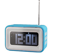 "4"" LCD Digital Alarm Clock with FM Radio and Speaker Function (Blue,4xAA)"