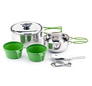 Portable Outdoor Stainless Steel Pot Pan Bowl Spoon Cooking Set