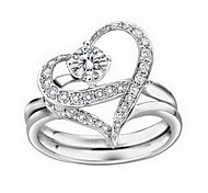 Heart-Shaped Diamond Silver Ring