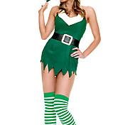 Christmas Costume Verde de Santa mangas Cordury vestido das mulheres