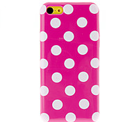 White Round Dots TPU Soft Case with Interior Matte Protection for iPhone 5C (Assorted Colors)